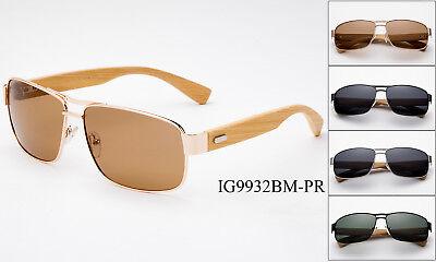 Polarized Sunglasses Aviator Bamboo Classic Men Women Square Wooden Frame (Bamboo Frame Sunglasses)