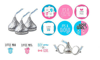 108 Gender Reveal Girl Boy Baby Shower Party Hershey Kiss Candy Labels Favors](Gender Reveal Candy)