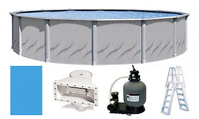 Above Ground Round GALLERIA Swimming Pool w/ Blue Liner, Ladder & Filter Kit