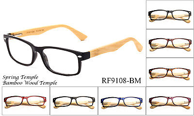 (Reading Glasses Quality Handmade Bamboo Wood Classic Spirng Hinge Slim Design)