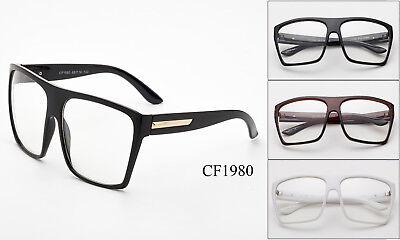 Groß Übergröße Vintage Brille Klar Gläser Dünn Rahmen Nerd Brille Retro Schwarz