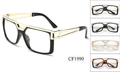 Square Clear Lens Glasses Large Eyewear Classic Run DMC Retro Gold Metal (Running Eyewear)