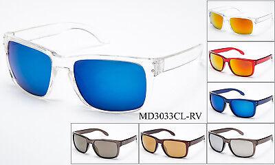 Flashing Sunglasses (Keyhole Transparent Sunglasses Clear See Through Frame Flash Mirror Lens UV)