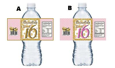 20 SWEET 16 SIXTEEN PINK WHITE & GOLD BIRTHDAY PARTY FAVORS WATER BOTTLE LABELS](Sweet 16 Favors)