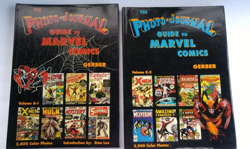 """2 VOL SET """"THE PHOTO-JOURNAL GUIDE TO MARVEL COMICS"""" BY GERBER! 7500+ COLOR PICS"""