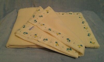 Vintage Curity Yellow Thermal Waffle Acrylic Baby Blanket Bears Dogs Nylon Trim