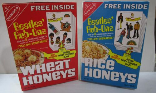 1969 The Beatles Cereal Box SET of 2 REPRODUCTION Rice Honeys Wheat Honeys