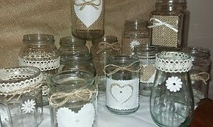 Wedding Table centrepieces 12 Decorated candle/Flower Jars Rustic/Vintage Style