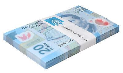 Mexico 20 Pesos X 100 Pieces - PCS, 2016,P-122,UNC,Series-AA,Polymer,Bundle,Pack