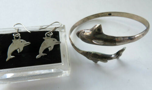 Vintage 925 Sterling Silver Double Dolphin Bypass Cuff Bracelet And Earrings Set
