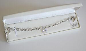 Aurora Borealis Snowflake Edelweiss Charm Bracelet w Swarovski Elements NIB