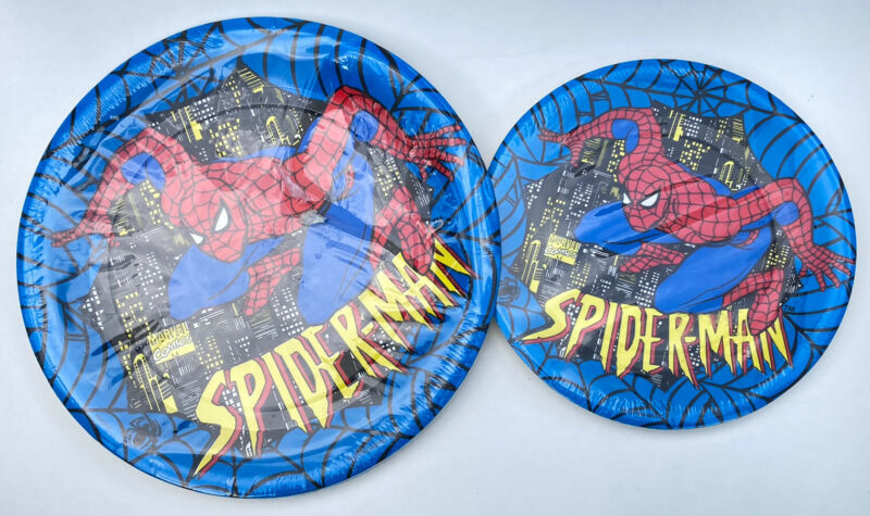 Vintage Spiderman Party Paper Plates 1994 Brand New in Packaging 1994