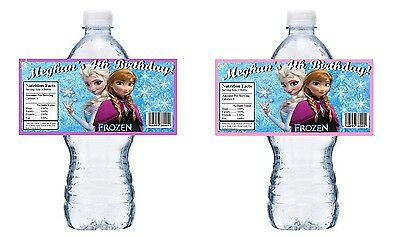 Water Bottle Wrappers (20 DISNEY FROZEN PERSONALIZED BIRTHDAY PARTY FAVORS WATER BOTTLE LABELS)