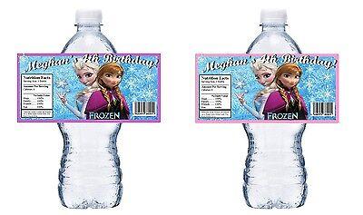 Frozen Water Bottle Labels (20 DISNEY FROZEN PERSONALIZED BIRTHDAY PARTY FAVORS WATER BOTTLE LABELS)