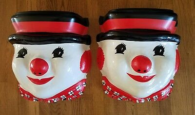 Vintage 1960's Large Plastic Snowman Head Lamp Post Cover Appears to be unused