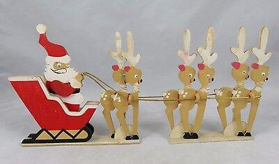 Vtg Erzgebirge - Carved Wood Santa Claus Sleigh w/ Reindeer Christmas - Germany