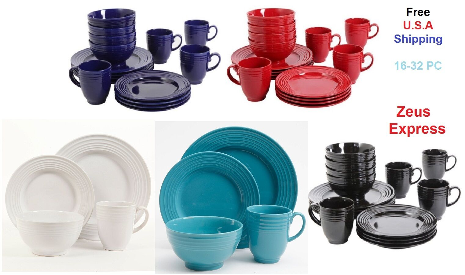 Blue White Red Turquoise Dinnerware Set 16-32 Pcs Service Fo