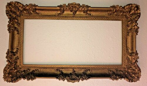 """Large Vintage 36""""x 21.5"""" Ornate Gold Syroco Shabby & Chic Picture/Mirror Frame"""