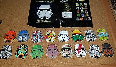 Disney Pin Star Wars Stormtrooper Helmets Mystery Complete Set 16 Pins