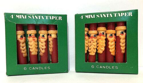 """VTG🎅UNUSED 12 Christmas 4"""" wax Candles ORIGINAL BOXES Red Santa Claus Hong Kong"""