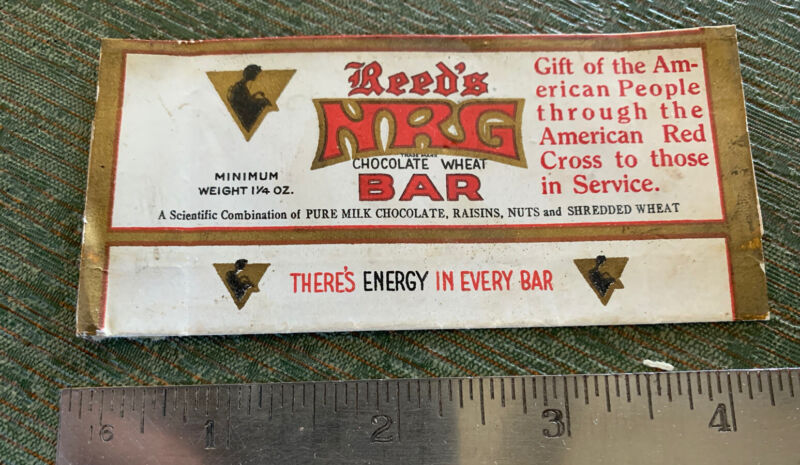 Vintage WWI Reed's NRG Chocolate Energy Bar Wrapper