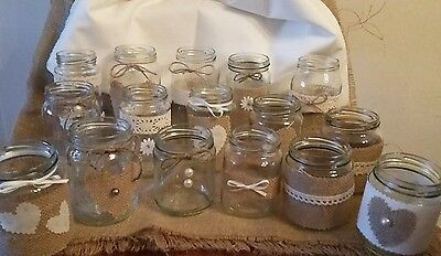 20 Wedding Centrepiece Jars for Candles/Flowers Decorated Rustic/ Vintage Style - Rustic Centerpieces For Weddings