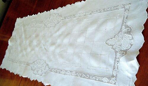 Old Victorian runner linen combo Punto Tirata drawn tread lace & needle lace