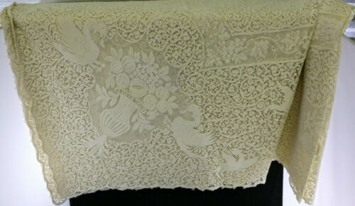 Antique Vtg White Cream Lace Tablecloth w Swan Designs & Floral Patterns 64x106""