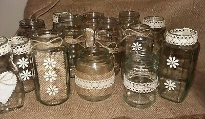 Shabby Chic Rustic Wedding Centrepieces 14 Jars ideal for flowers or Candles - Rustic Centerpieces For Weddings