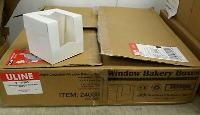 "200 Uline S-17565 Single Window Bakery Boxes, 4.5"" Cube, White, Cupcake Muffin"