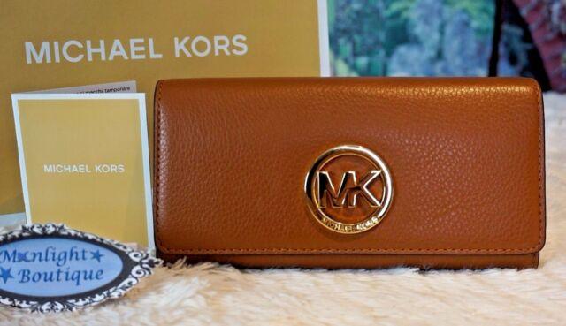 b19c2e344c81 ... Luggage NWT MICHAEL KORS FULTON FLAP MK Continental Wallet LUGGAGE  Pebbled Leather 138 Michael Kors Fulton Leather Carryall Wallet Brown ...