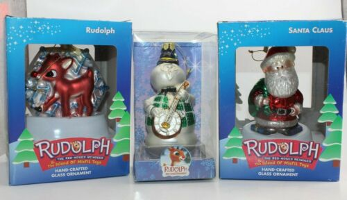 Rudolph the Red-Nosed Reindeer Glass Ornaments Lot