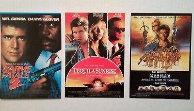 3 cartes postales cinéma film Mel Gibson L'Arme fatale 2 Tequilas Sunrise Madmax