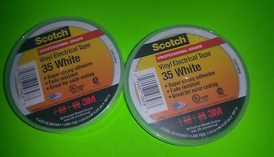 WHITE  35 Scotch Vinyl Electrical Color Coding Tape, 3/4 in x 66 ft, Lot Of  4