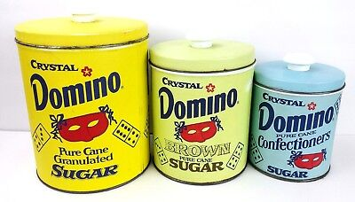 Set of 3 Vintage DOMINO SUGAR CANISTERS Tins