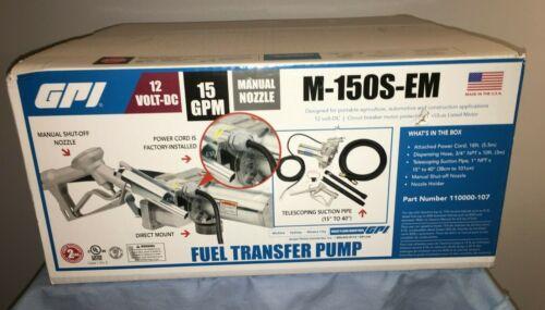 GPI M-150S-EM 12 Volt Fuel Transfer Pump 15 GPM Manual Nozzle Hose 12v