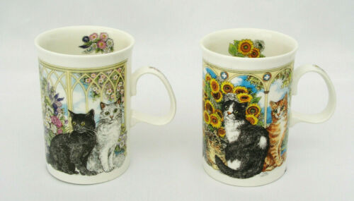 (2) DUNOON SCOTLAND - WINDOW CATS MUGS - DESIGNED BY SUE SCULLARD - EXCELLENT