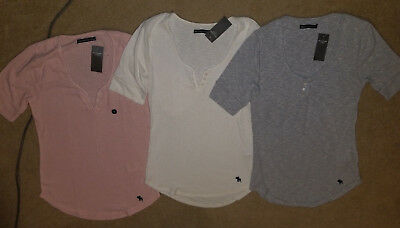 NWT Abercrombie & Fitch Short Sleeve Icon Henley Tee Top 3 Colors M or L