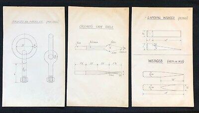 3 X Harland & Wolff Belfast 1930's Drawings  HOOKS NAIL DRAWERS PLATES  - RF12