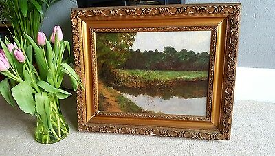 Original Antique Oil Painting on Canvas in a Giltwood frame landscape