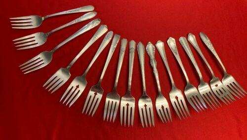 Lot of 15 Vintage Silverplate Flatware  SALAD or DESSERT FORKS Parties Crafts