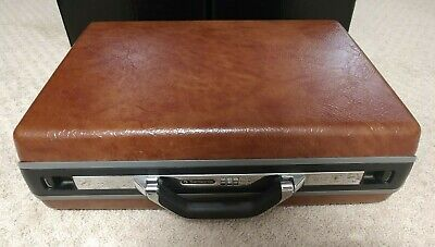 Vintage 80s Samsonite Accord Hard Shell Brown Briefcase Attache Combo Lock 5""