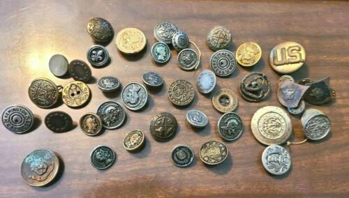 Antique Vintage Lot of Military Uniform Buttons & Pins