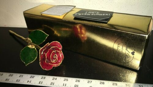 STEVEN SINGER 24K Gold Dipped ROSE - Valentine's Day Classic RED - NEW WITH BOX