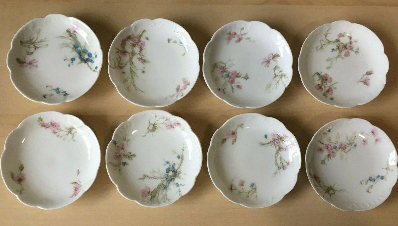 8 Antique Haviland Limoges Butter Pats Salt Schleiger 78 78d Rose Rings Wreaths