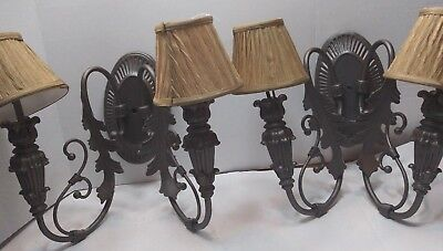 Pair of painted vine and leaf light hard wire wall sconces with clip on shaed