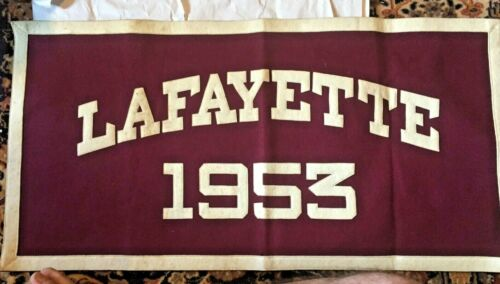 """Lafayette 1953 BANNER by """"DISTINCTIVE COLLEGE SPECIALTIES"""" NICE! 17"""" x 34"""""""
