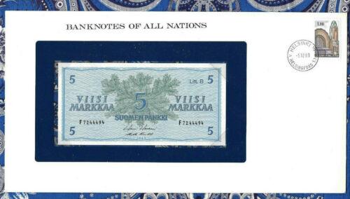 Banknotes of All Nations Finland 5 Markkaa 1963 UNC P-106Aa.41 Litt. B