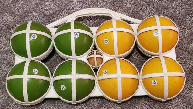 Vintage Brevettato Bocce Ball set lawn bowling game & Pellini Pellino Ball Italy