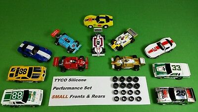 TYCO 440 440x2 HO slot car SILICONE TIRES Small Front & Rear 8 pair lot